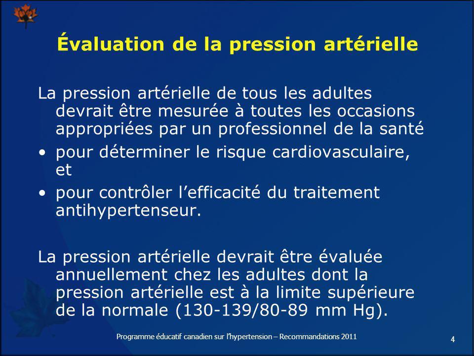 Évaluation de la pression artérielle