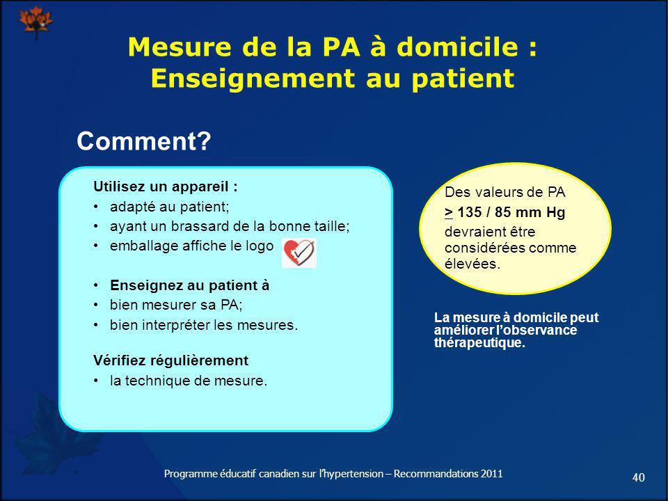 Mesure de la PA à domicile : Enseignement au patient