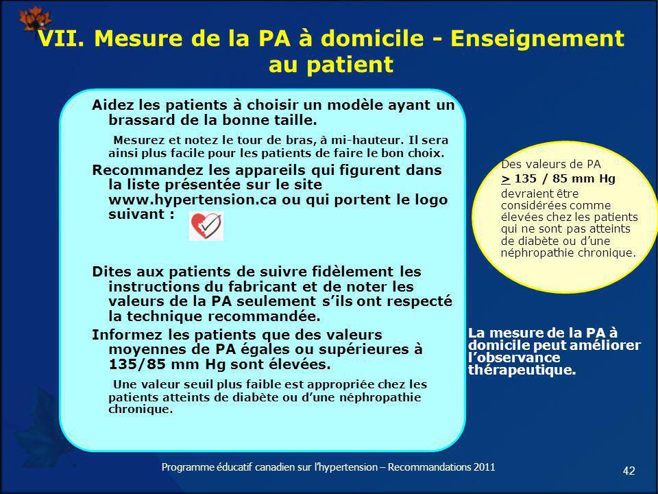 VII. Mesure de la PA à domicile - Enseignement au patient