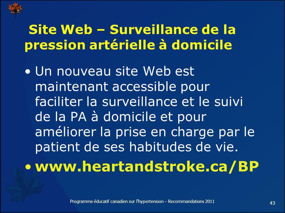 Site Web – Surveillance de la pression artérielle à domicile