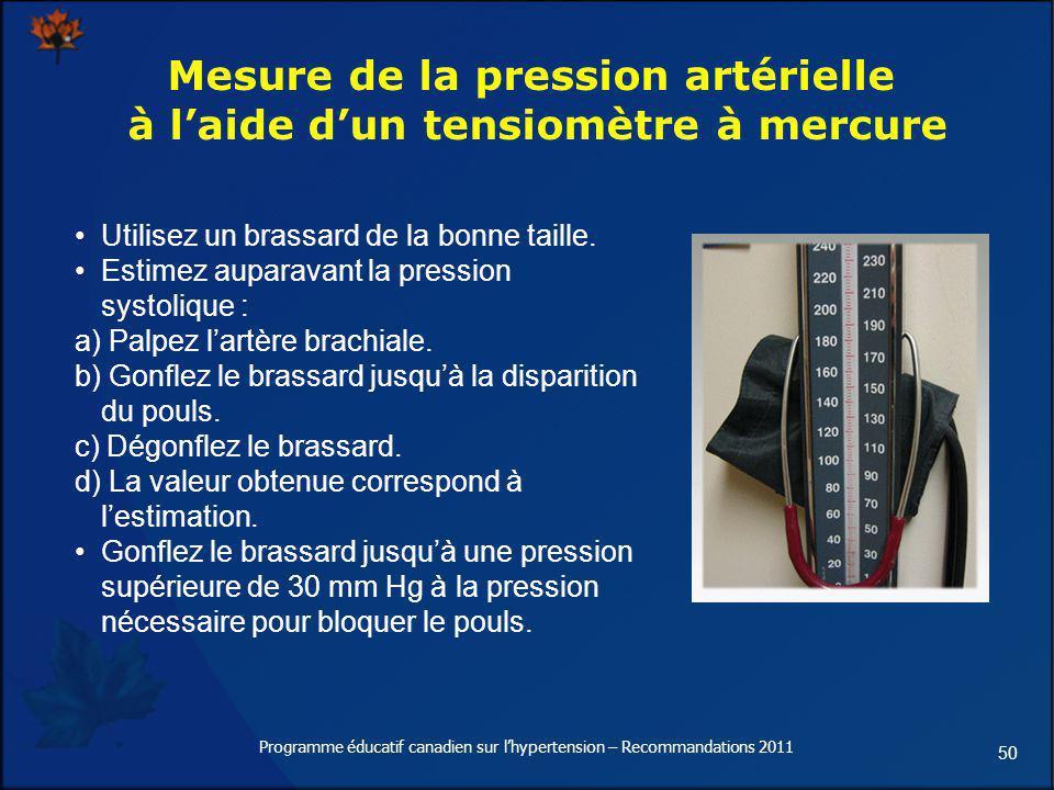 Mesure de la pression artérielle à l'aide d'un tensiomètre à mercure