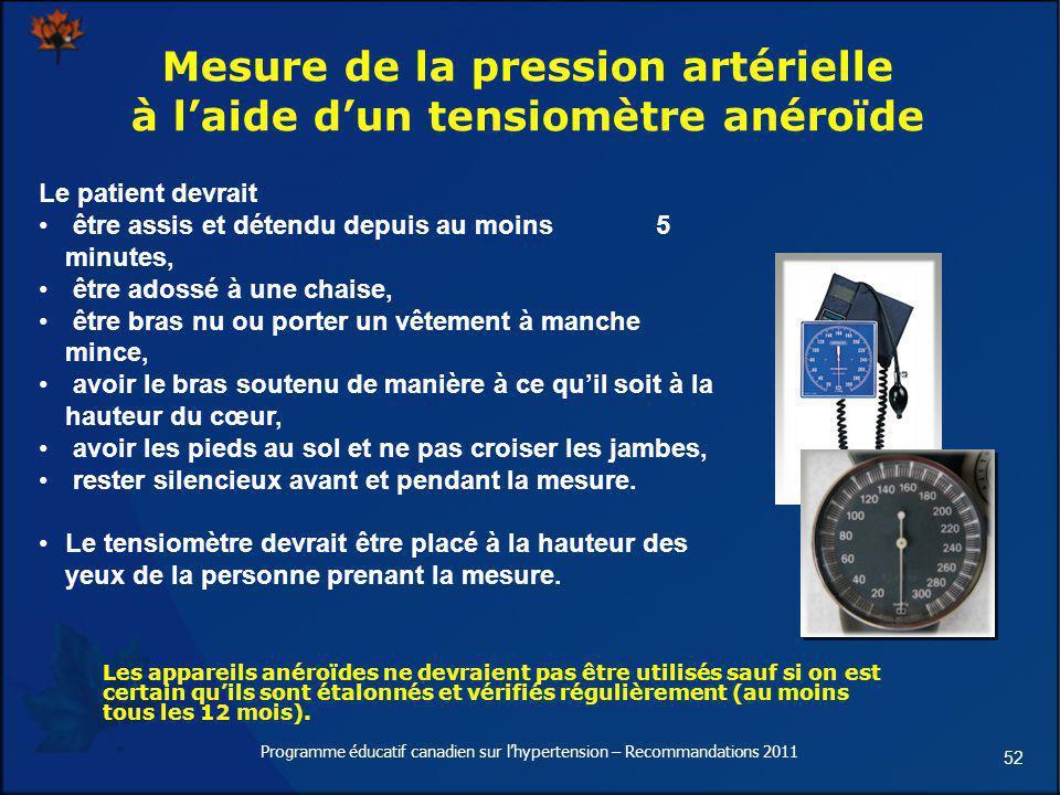 Mesure de la pression artérielle à l'aide d'un tensiomètre anéroïde