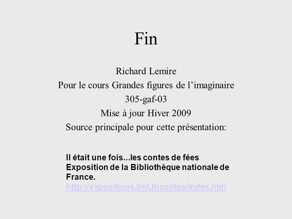 Fin Richard Lemire Pour le cours Grandes figures de l'imaginaire