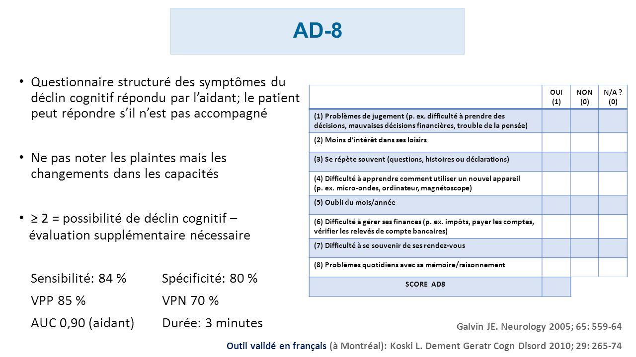 AD-8 Questionnaire structuré des symptômes du déclin cognitif répondu par l'aidant; le patient peut répondre s'il n'est pas accompagné.