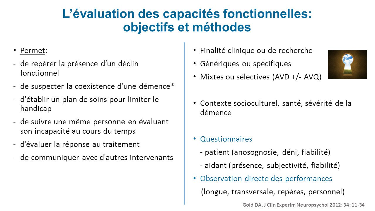 L'évaluation des capacités fonctionnelles: objectifs et méthodes