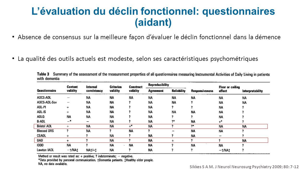 L'évaluation du déclin fonctionnel: questionnaires (aidant)