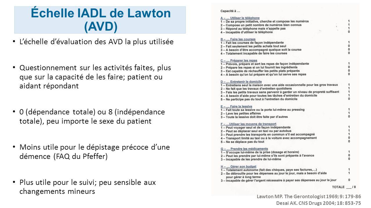 Échelle IADL de Lawton (AVD)