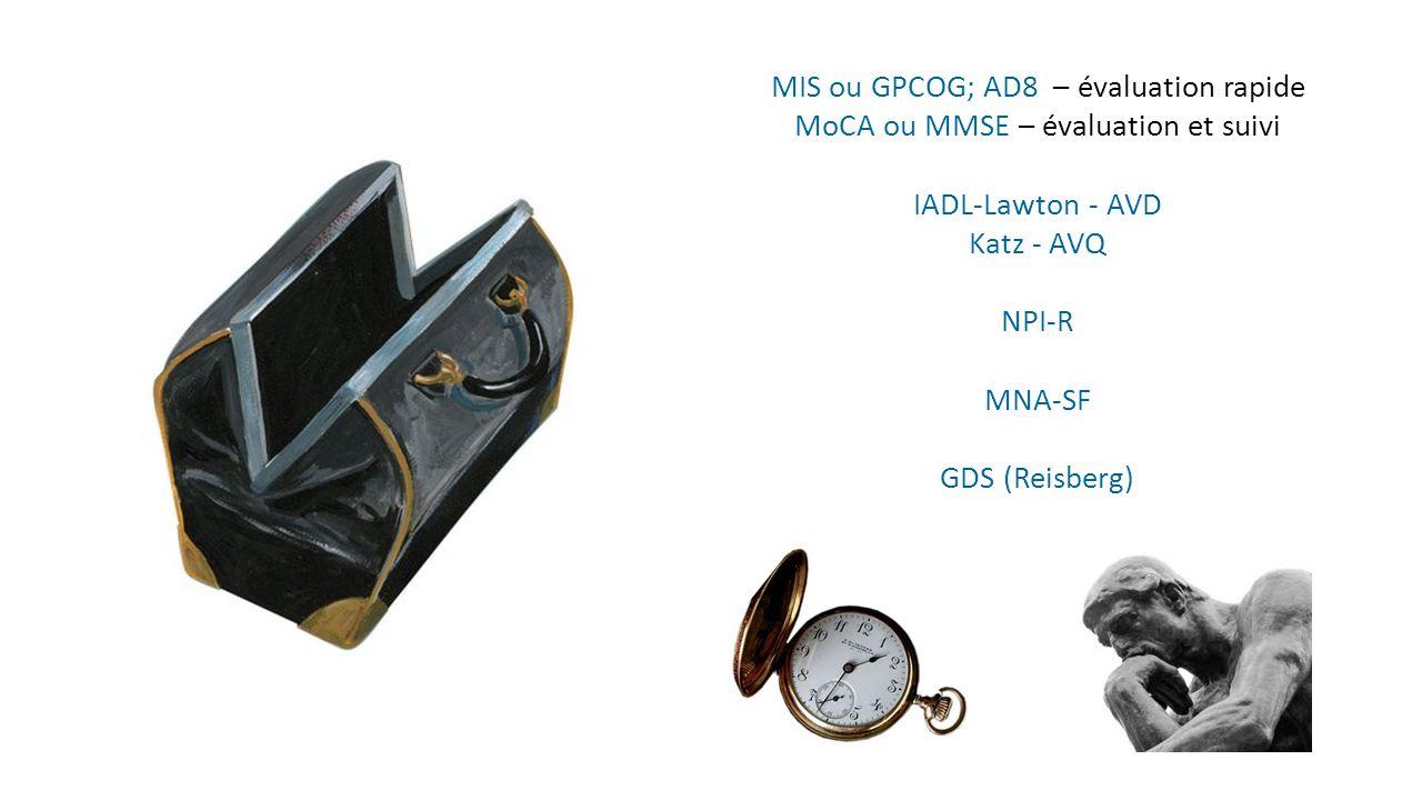MoCA ou MMSE – évaluation et suivi IADL-Lawton - AVD Katz - AVQ NPI-R