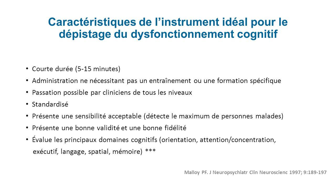 Caractéristiques de l'instrument idéal pour le dépistage du dysfonctionnement cognitif