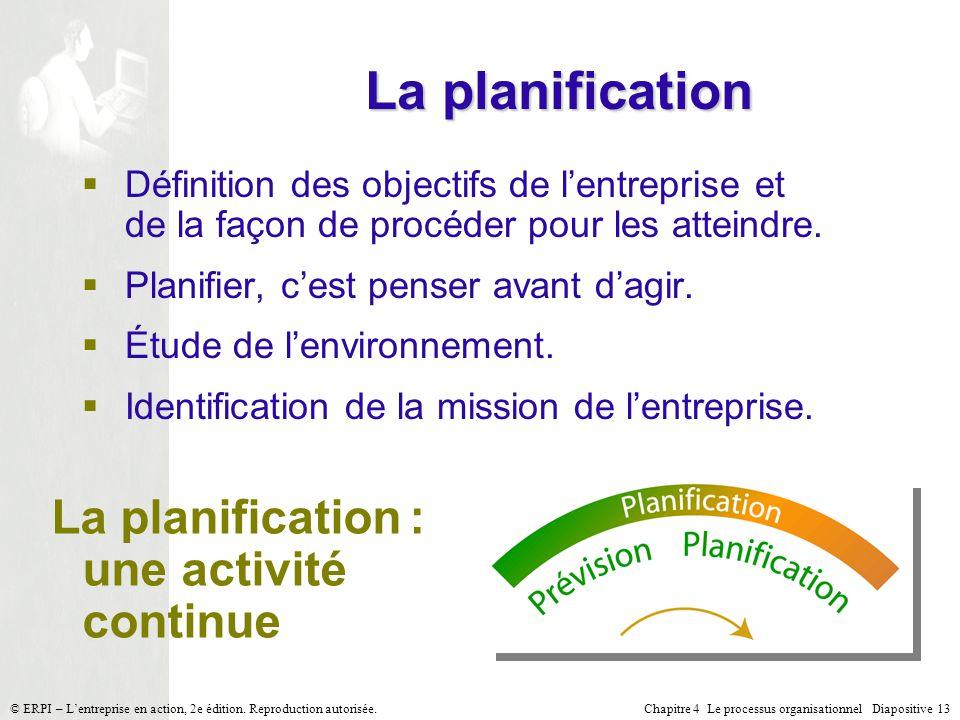 La planification La planification : une activité continue
