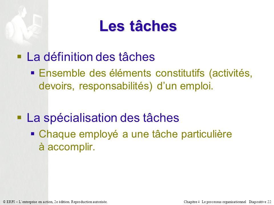 Les tâches La définition des tâches La spécialisation des tâches