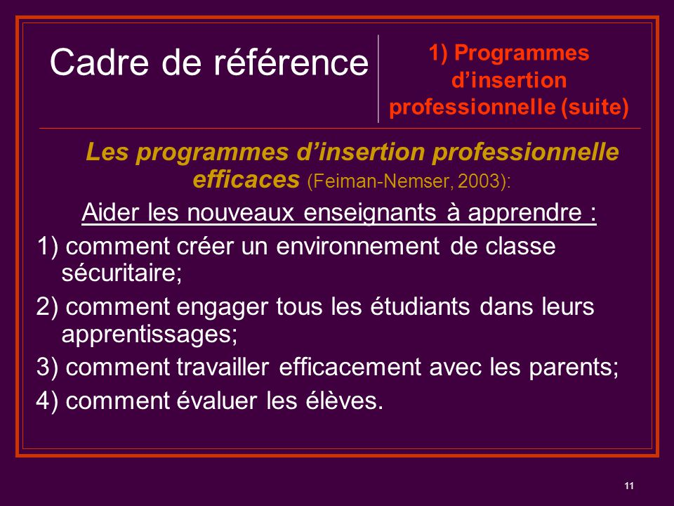 1) Programmes d'insertion professionnelle (suite)