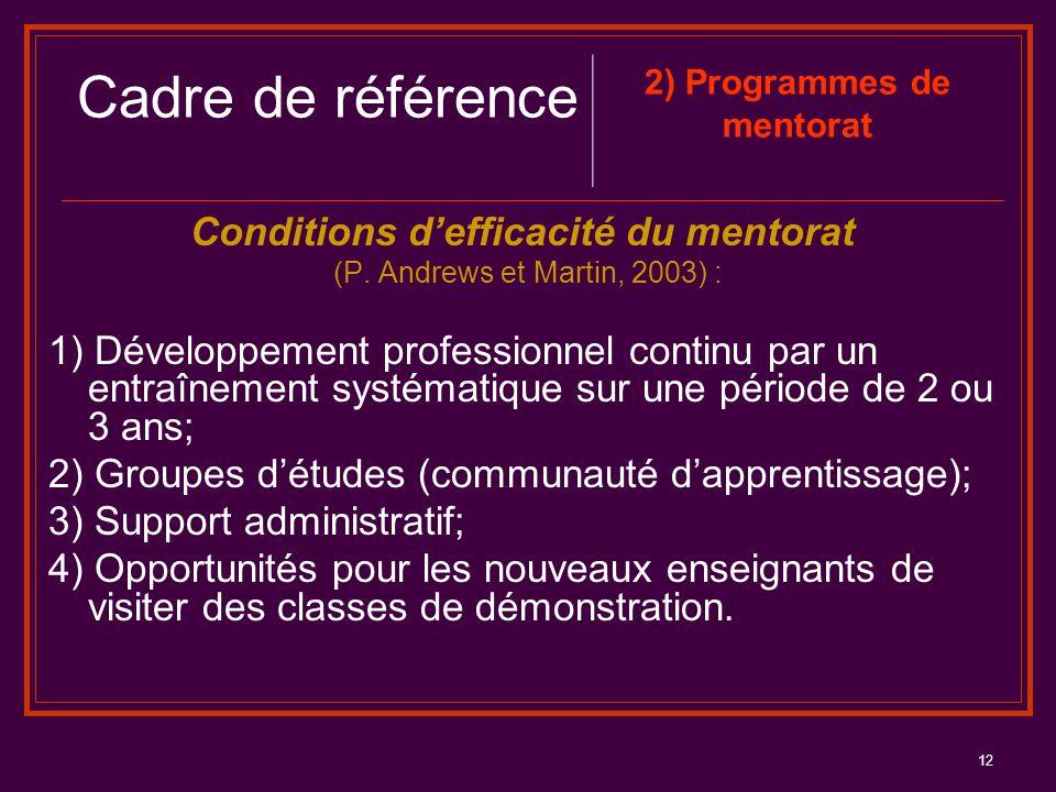 2) Programmes de mentorat Conditions d'efficacité du mentorat