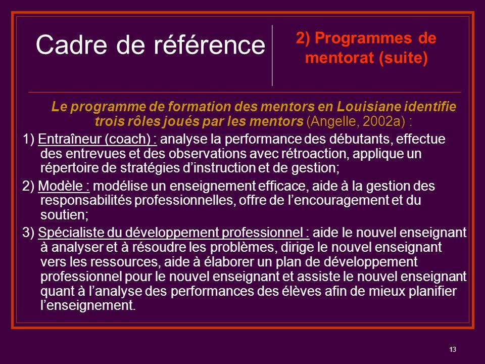 2) Programmes de mentorat (suite)