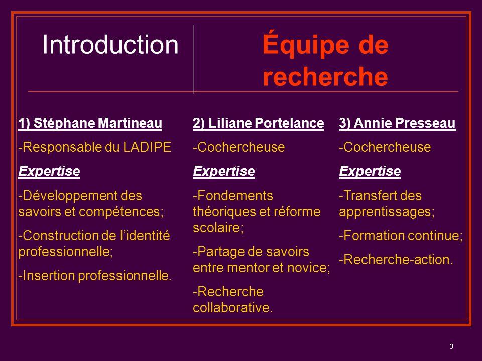 Introduction Équipe de recherche 1) Stéphane Martineau