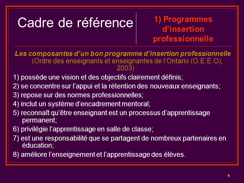 1) Programmes d'insertion professionnelle