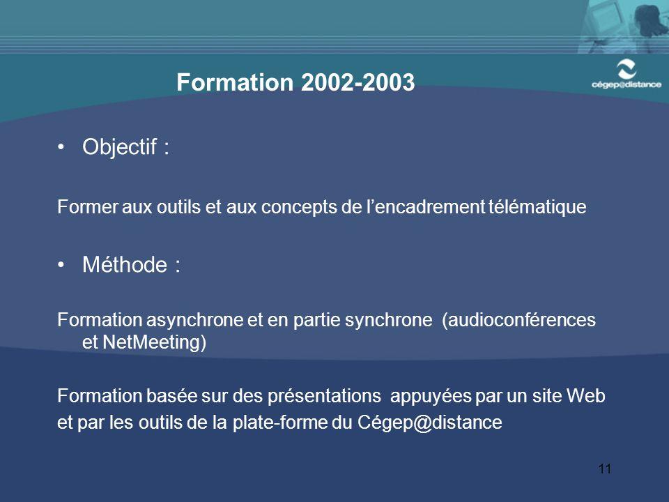 Formation 2002-2003 Objectif : Méthode :