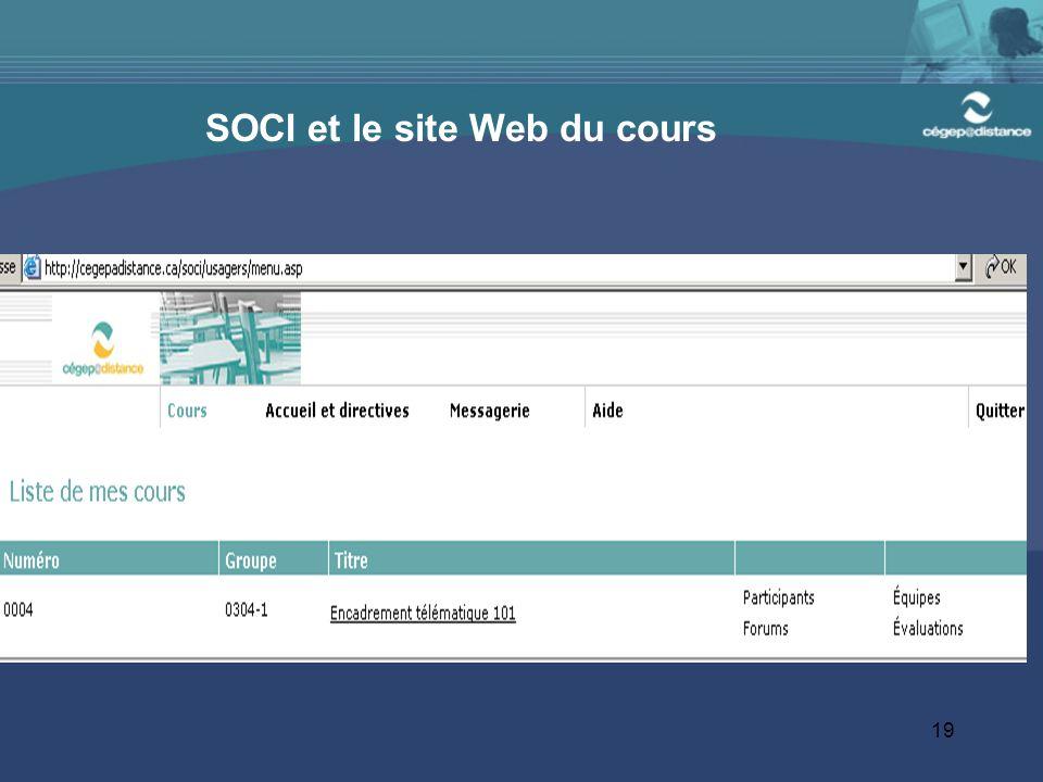 SOCI et le site Web du cours