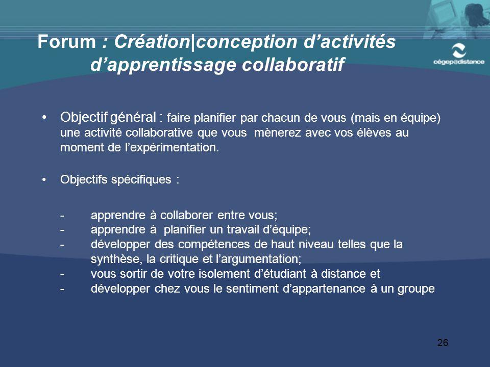 Forum : Création|conception d'activités d'apprentissage collaboratif