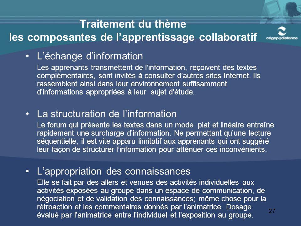 Traitement du thème les composantes de l'apprentissage collaboratif
