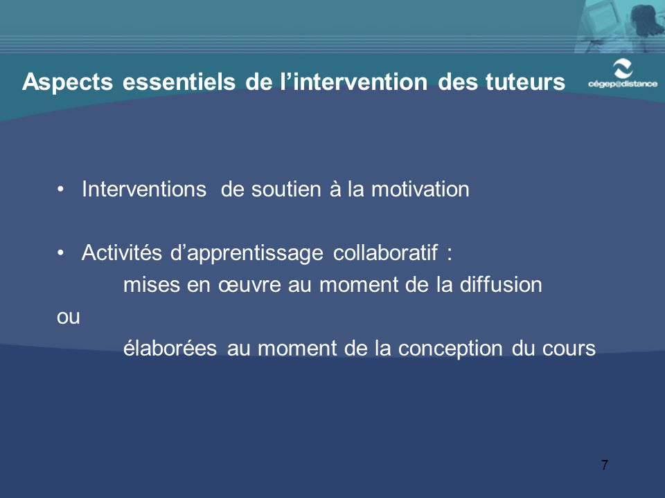 Aspects essentiels de l'intervention des tuteurs