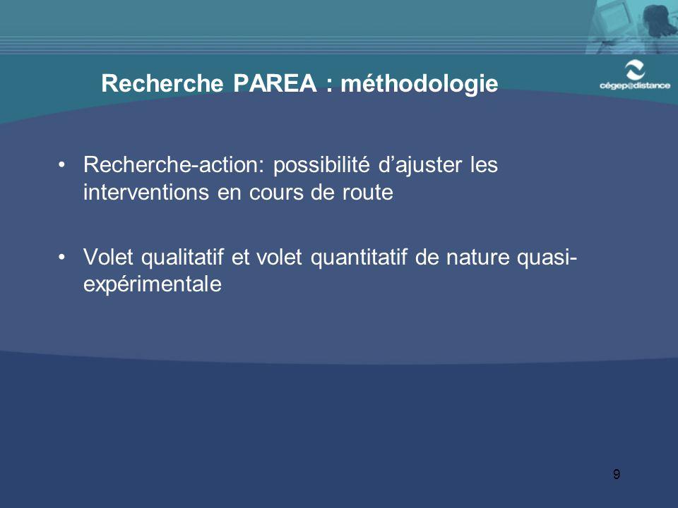 Recherche PAREA : méthodologie