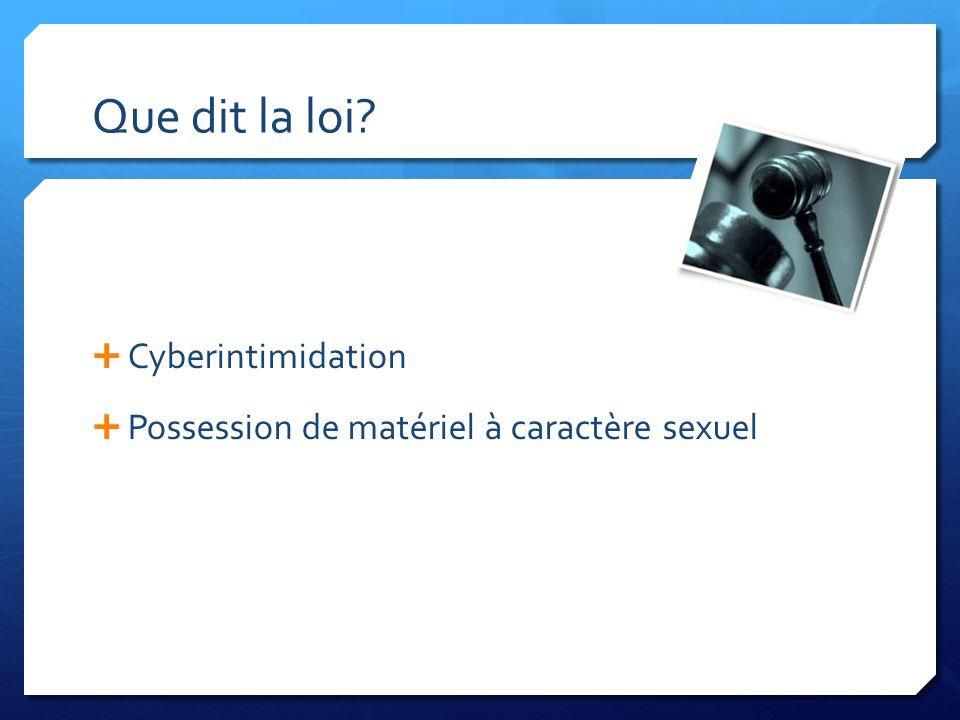 Que dit la loi Cyberintimidation