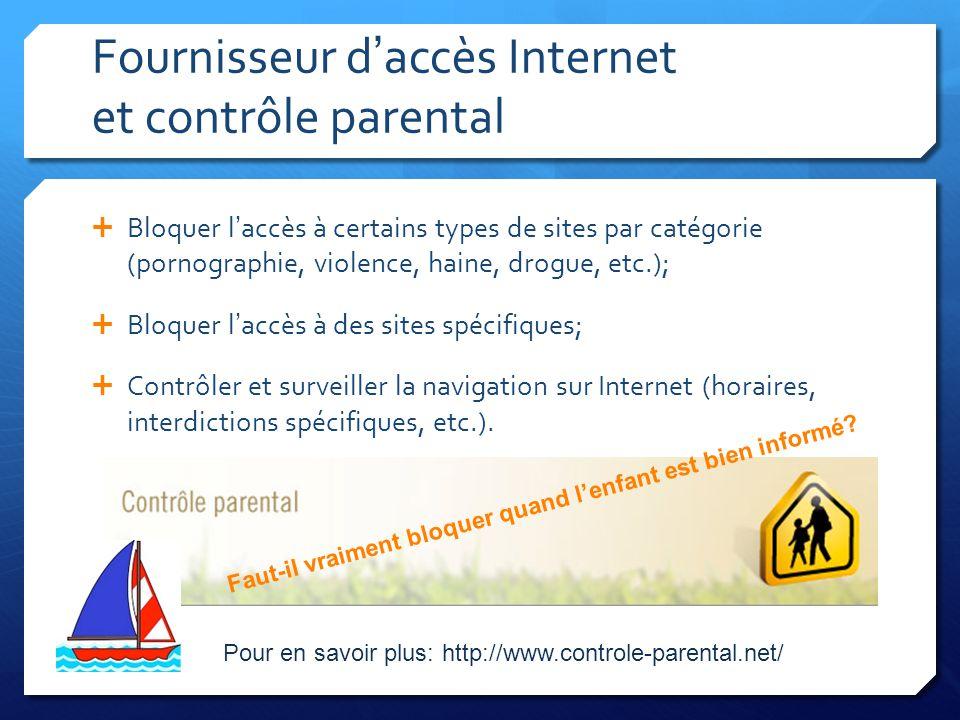 Fournisseur d'accès Internet et contrôle parental