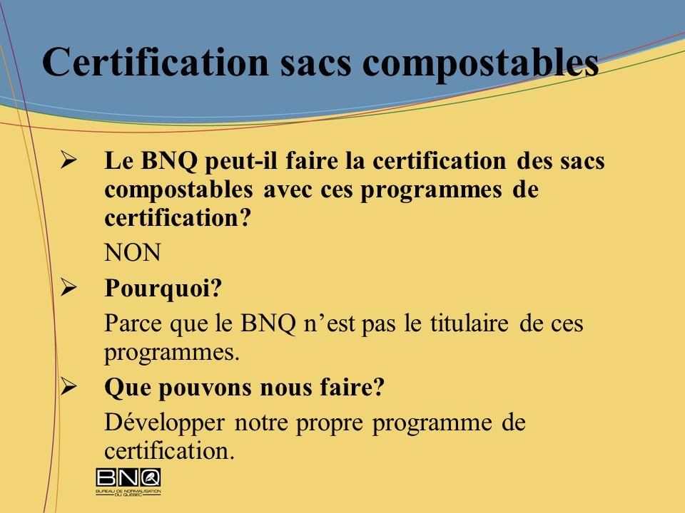Certification sacs compostables