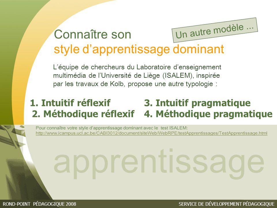apprentissage Connaître son style d'apprentissage dominant
