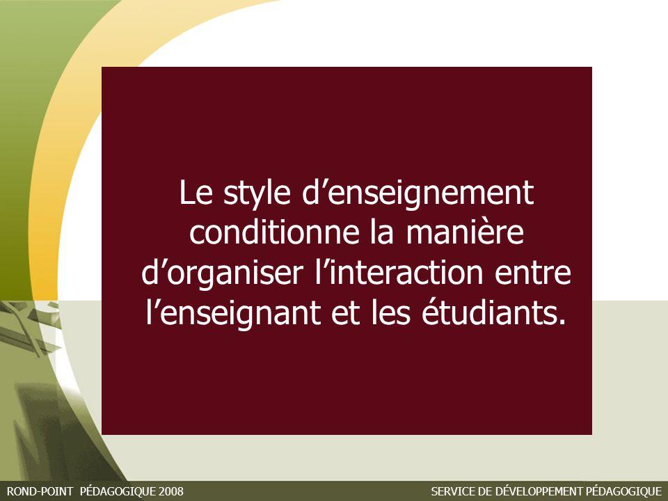 Le style d'enseignement conditionne la manière d'organiser l'interaction entre l'enseignant et les étudiants.