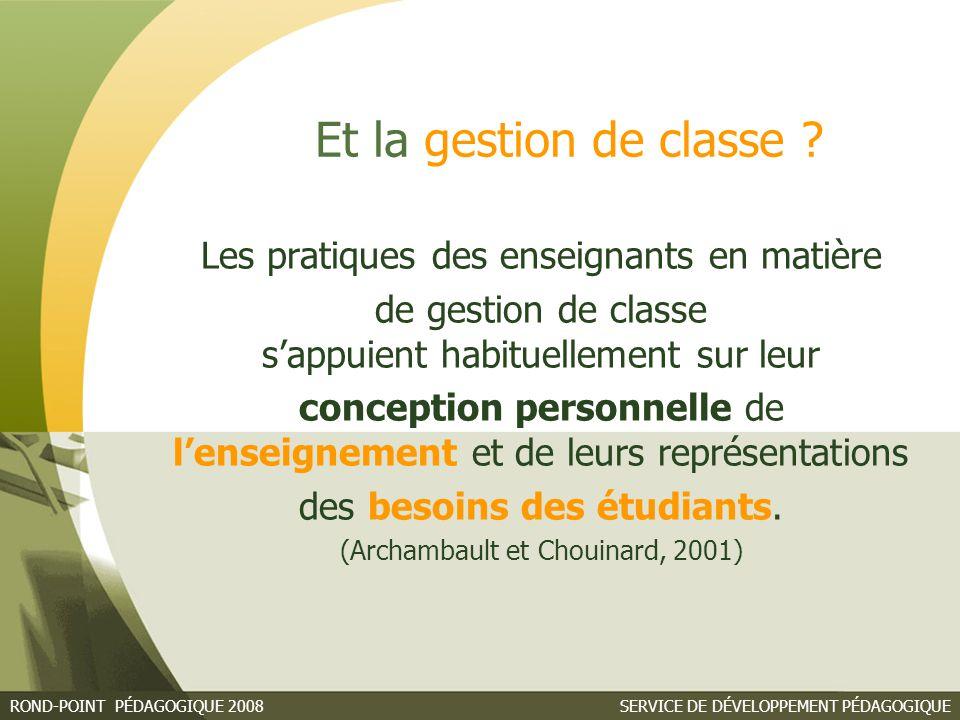 Et la gestion de classe Les pratiques des enseignants en matière