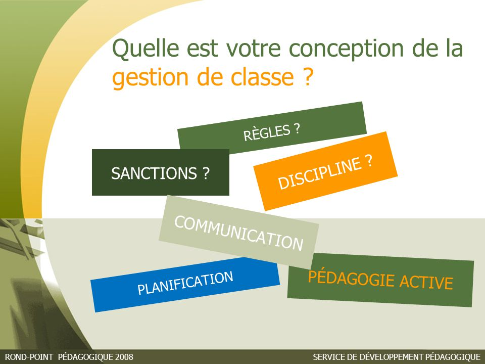 RÈGLES SANCTIONS DISCIPLINE COMMUNICATION PÉDAGOGIE ACTIVE