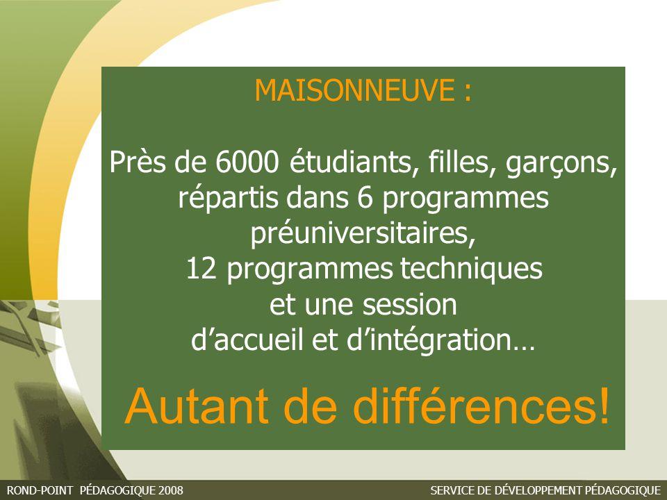 MAISONNEUVE : Près de 6000 étudiants, filles, garçons, répartis dans 6 programmes préuniversitaires, 12 programmes techniques et une session d'accueil et d'intégration…