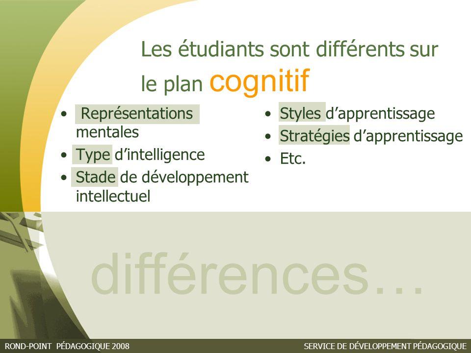 différences… Les étudiants sont différents sur le plan cognitif