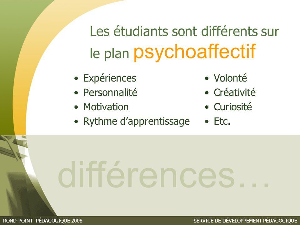 différences… Les étudiants sont différents sur le plan psychoaffectif