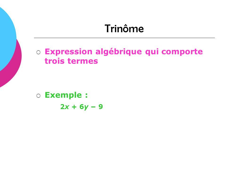 Trinôme Expression algébrique qui comporte trois termes Exemple :