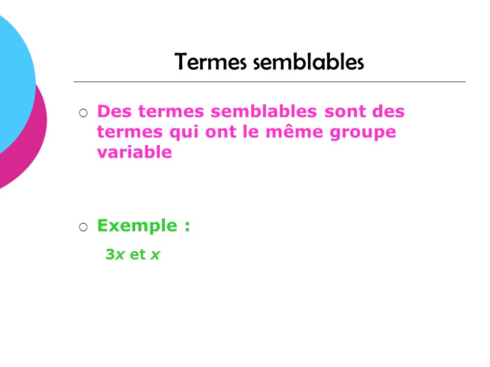 Termes semblables 3x et x