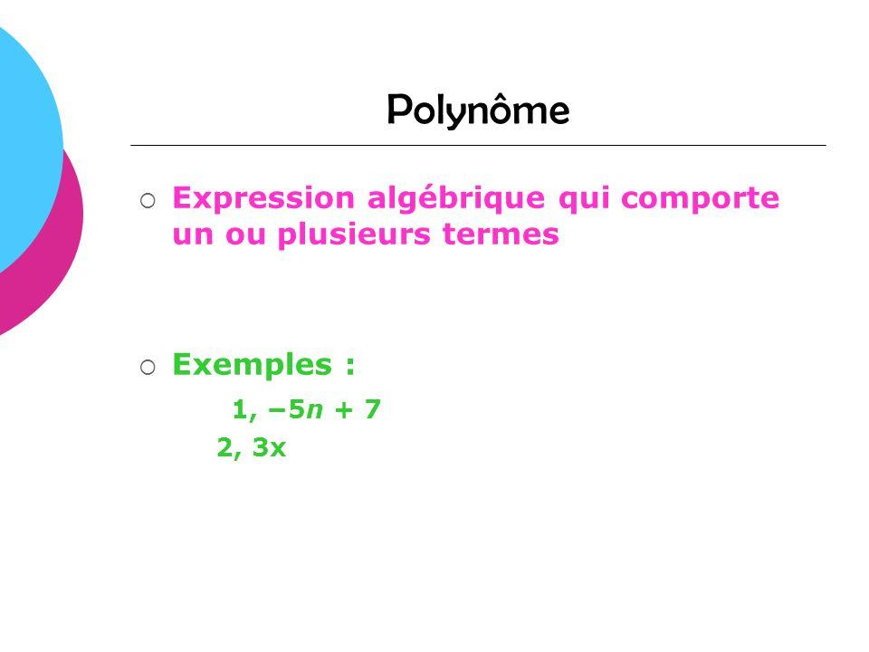 Polynôme Expression algébrique qui comporte un ou plusieurs termes