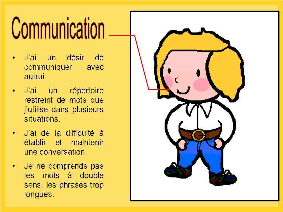 Communication J'ai un désir de communiquer avec autrui.