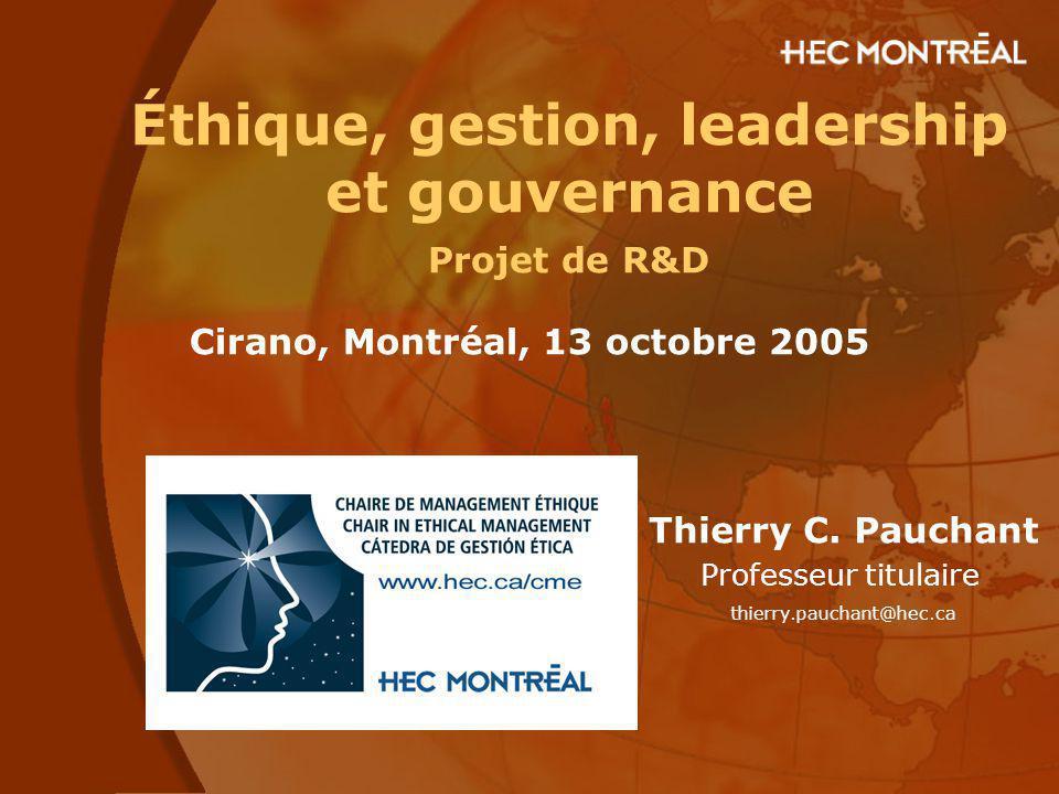Éthique, gestion, leadership et gouvernance Projet de R&D