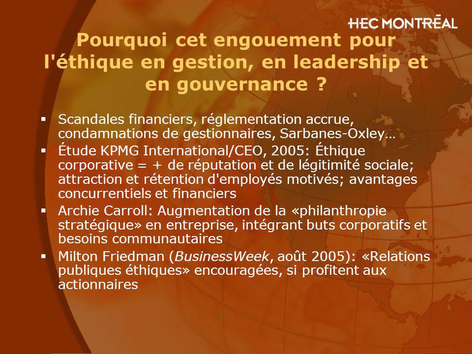 Pourquoi cet engouement pour l éthique en gestion, en leadership et en gouvernance