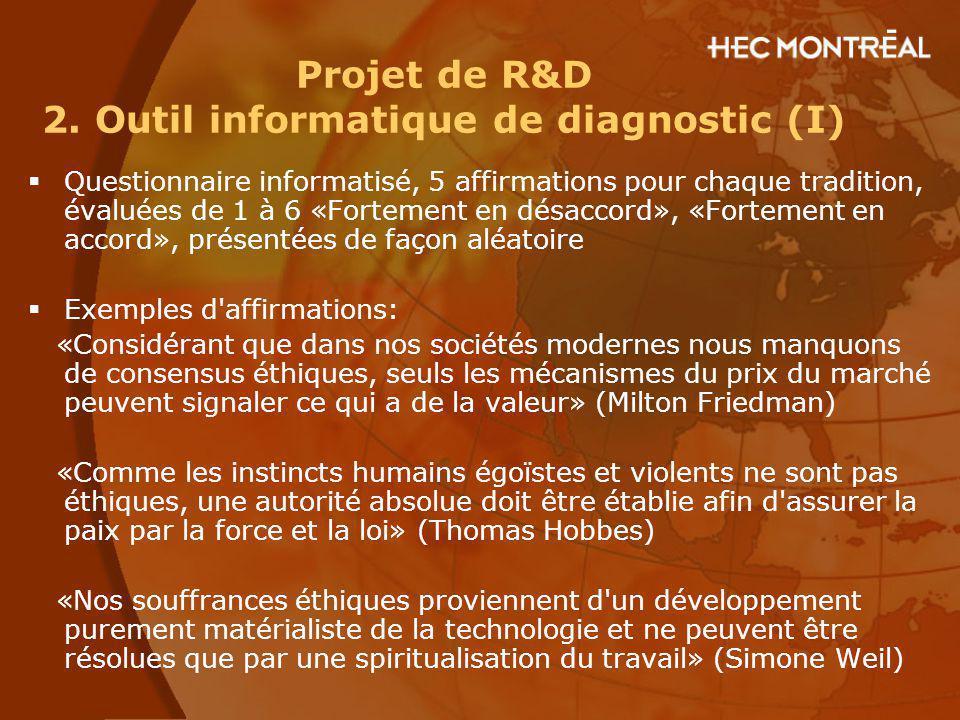 Projet de R&D 2. Outil informatique de diagnostic (I)