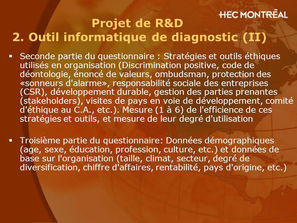 Projet de R&D 2. Outil informatique de diagnostic (II)