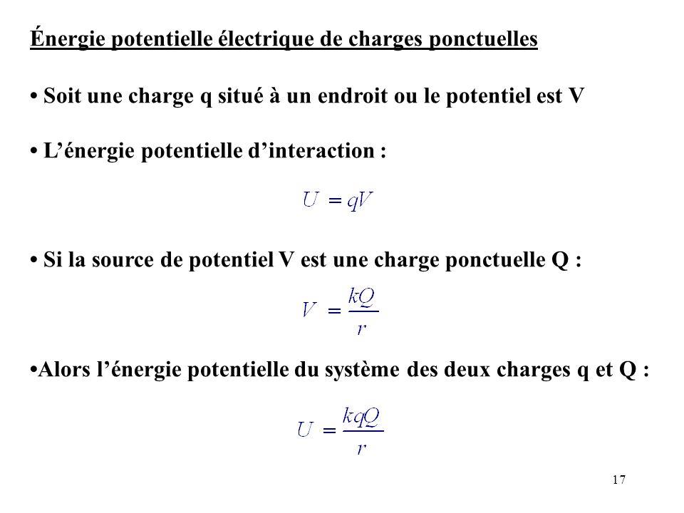 Énergie potentielle électrique de charges ponctuelles