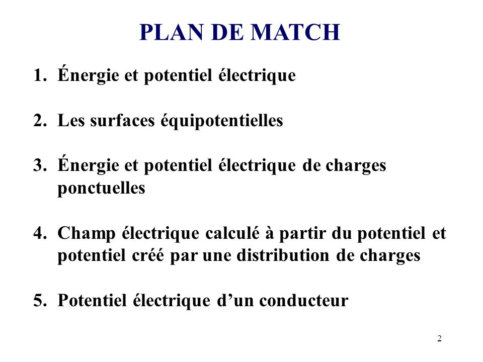 PLAN DE MATCH Énergie et potentiel électrique