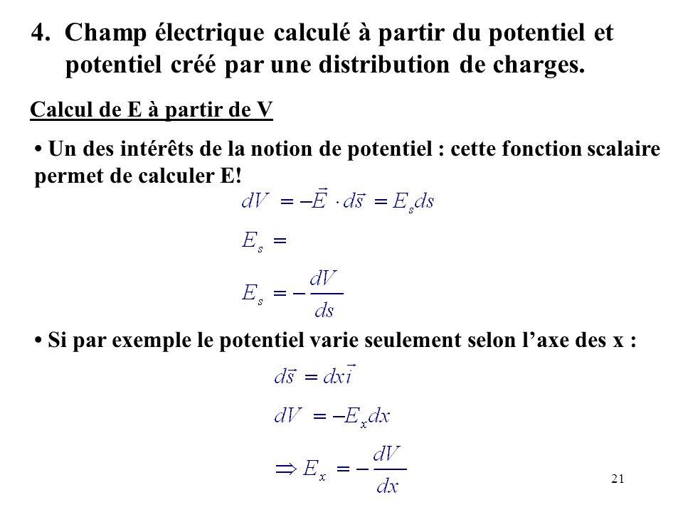 4. Champ électrique calculé à partir du potentiel et potentiel créé par une distribution de charges.
