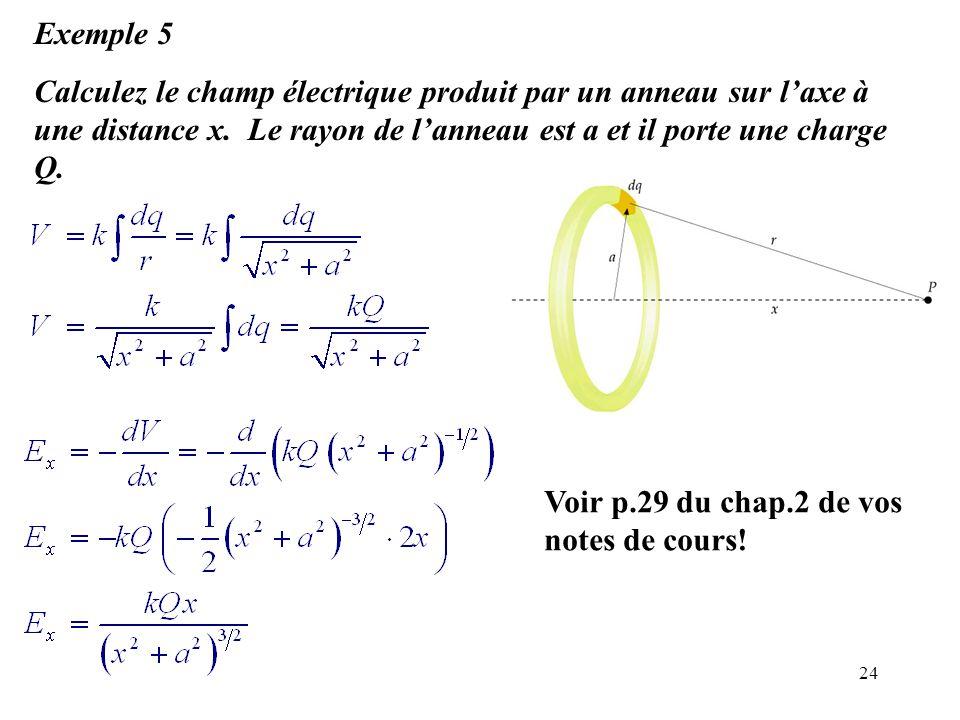 Exemple 5 Calculez le champ électrique produit par un anneau sur l'axe à une distance x. Le rayon de l'anneau est a et il porte une charge Q.