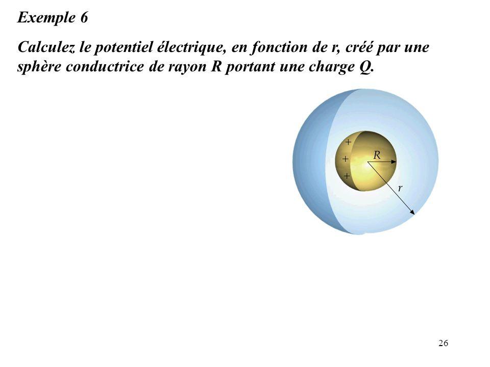 Exemple 6 Calculez le potentiel électrique, en fonction de r, créé par une sphère conductrice de rayon R portant une charge Q.