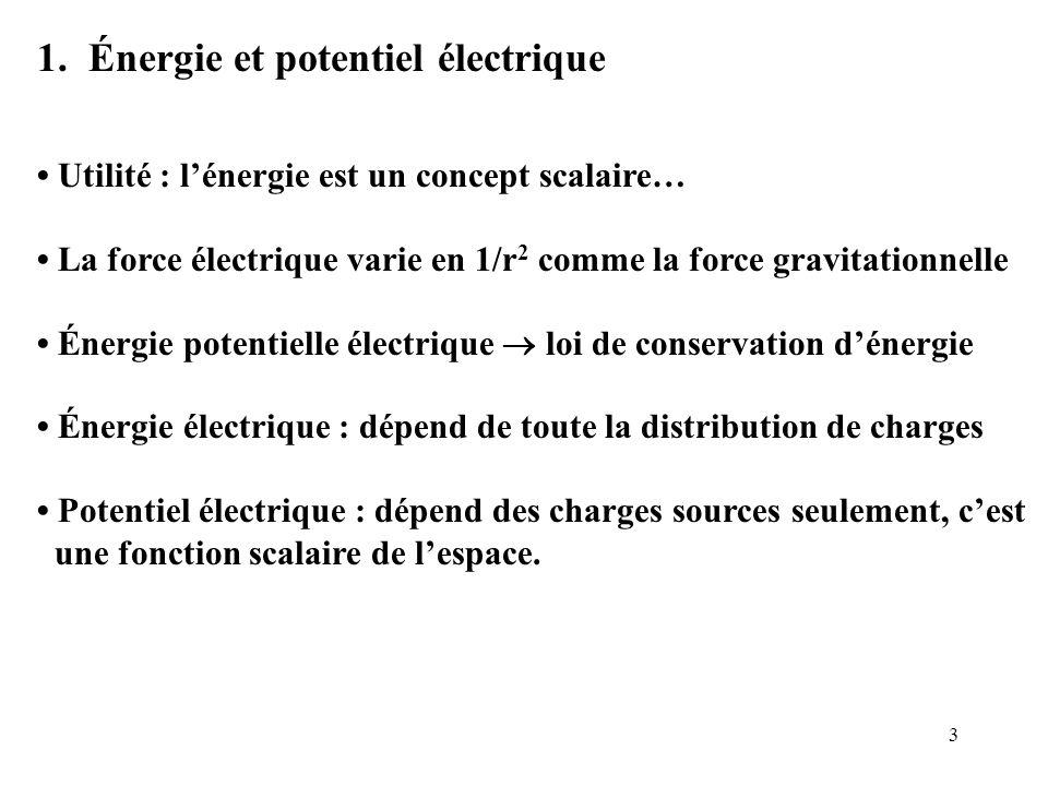 1. Énergie et potentiel électrique